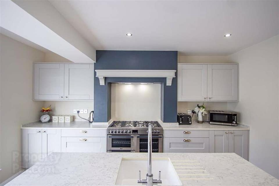 navy and white contemporary kitchen