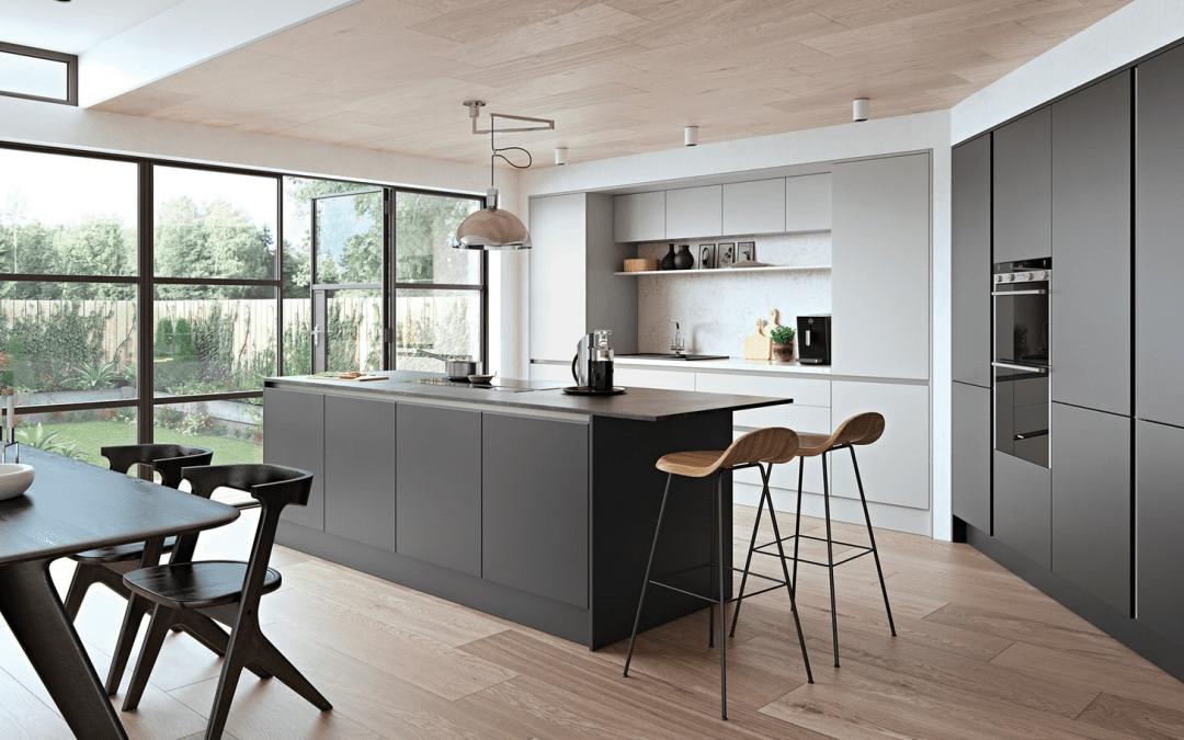 bespoke kitchen dark woods bright walls