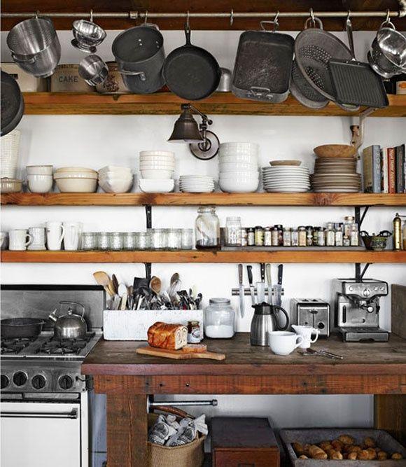 exposed kitchen storage