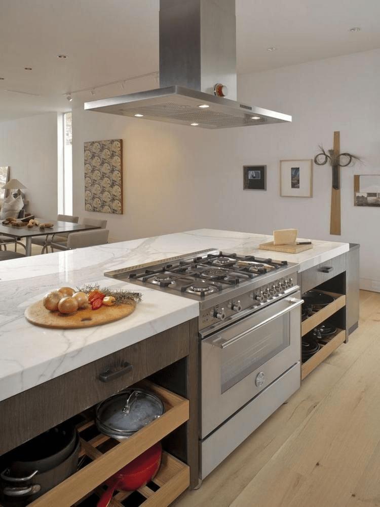 kitchen island with stove and hob