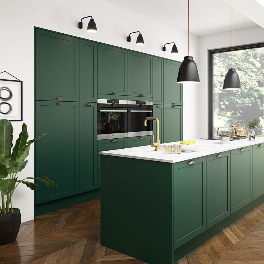 green contemporary kitchen
