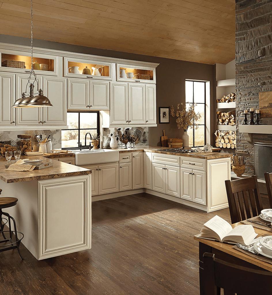 cream raised cabinets